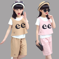 Girls Outfits Summer Children Clothing Sets for Girls Clothes Sets Kids Vest & T-shirts & Pants 3PCS Girls Suits 2 8 10 12 Years