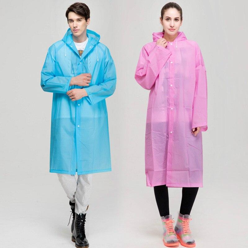 EVA Environment Raincoat With Hood For Man woman lady Outdoor Rainwear rain coat Waterproof Poncho Transparent YY308