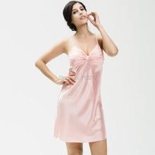 SSH005 Top Sale Nightgown Sleepshirt Silk Plus Size Bathrobe Female Women Sleepwear Dressing Gown Intimissimi Sexy pyjama women