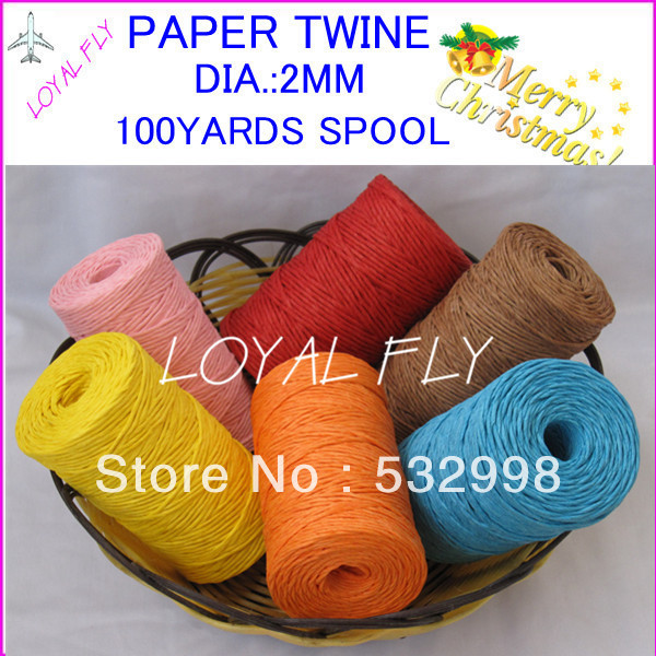 50pcs/lot raffia ribbon twisted paper cord 100yards/spool paper packaging rope decorations baking box packing party candy gifts