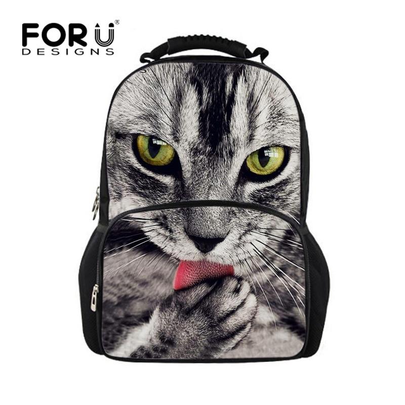FORUDESIGNS Unisex Cute Printing Cat Backpack Felt Fabric Men Women Travel Bagpack Cool 3D Children Boys Girls School Rucksack