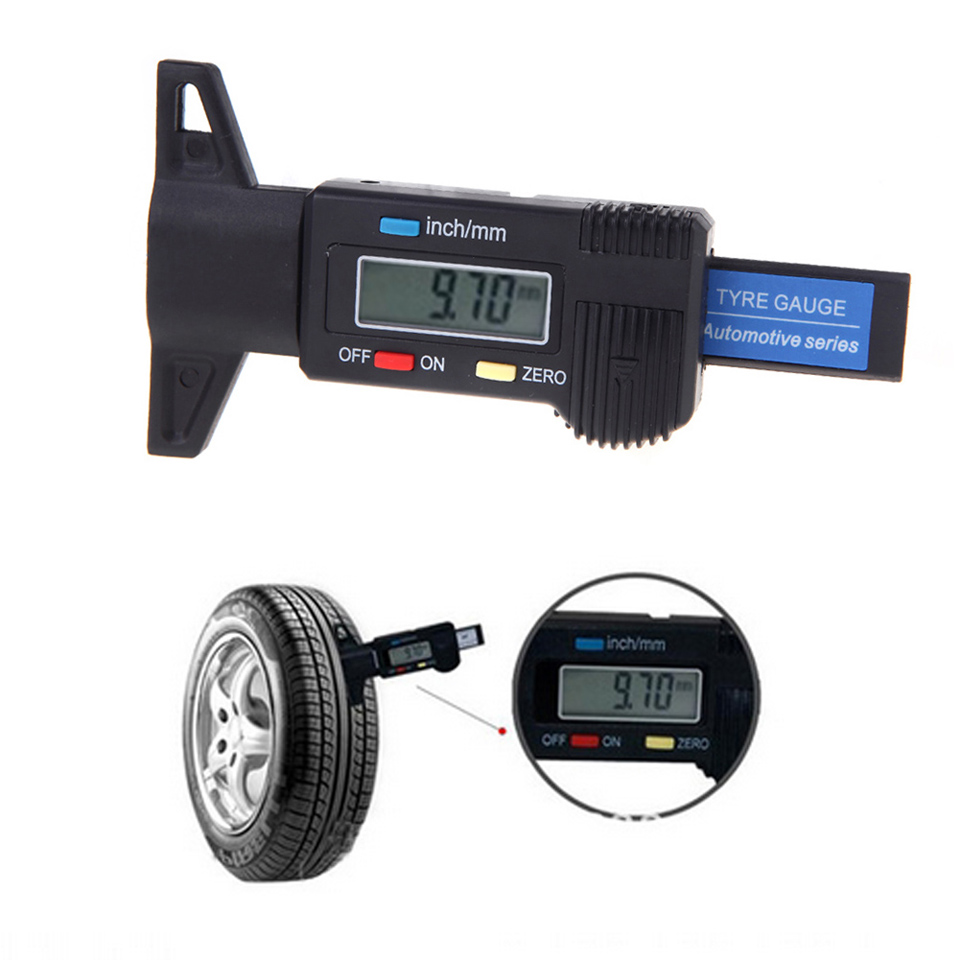 digital lcd display tyre tire tread depth gauge measure tool. Black Bedroom Furniture Sets. Home Design Ideas