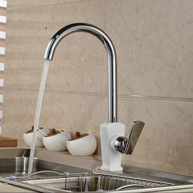 Polished Chrome Single Handle Kitchen Mixer Faucet One Hole Brass Kitchen Washing Taps niko 50pcs chrome single coil pickup screws