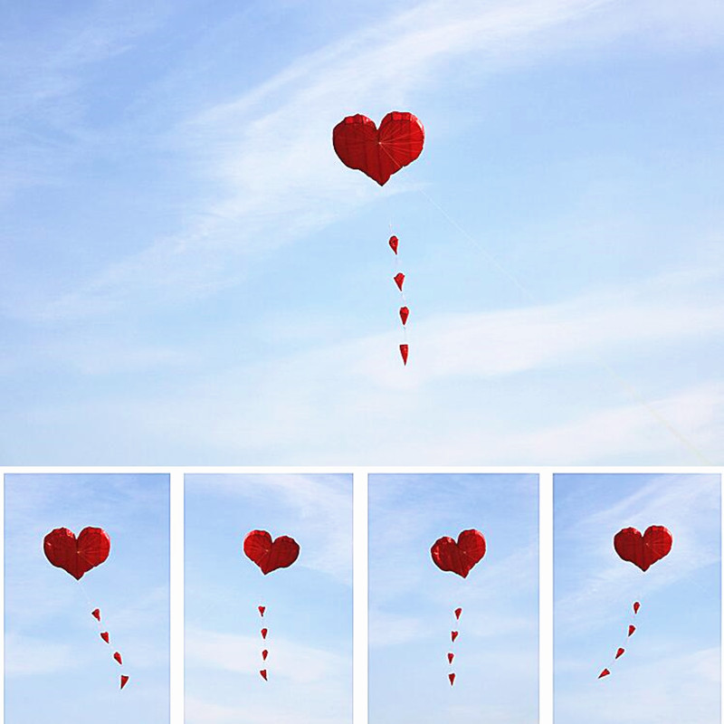 Free Shipping High Quality Love Heart Soft Kites Flying For Adults Ripstop Nylon Windsock Parapente Vliegers Voor Volwassenen