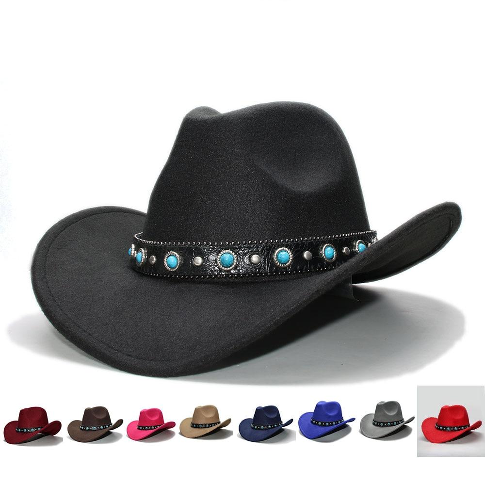 c2020e5d2 Retro Women Men 100% Wool Wide Brim Cowboy Western Cowgirl Bowler Hat  Fedora Cap Turquoise Bead Vintage Leather Band 57cm/Adjust