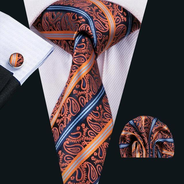 12990a80ecf9 FA-1554 New Arrive Fashion Ties For Men Orange Paisley Jacquard Woven  Necktie Hanky Cufflinks