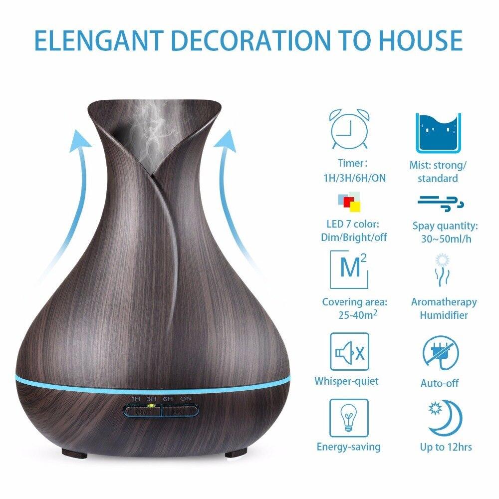 Image 3 - 花瓶の形エッセンシャルオイルディフューザー 500 ミリリットルの空気加湿器木目 7 色 led ライト超音波クールミストメーカーディフューザー加湿器   -