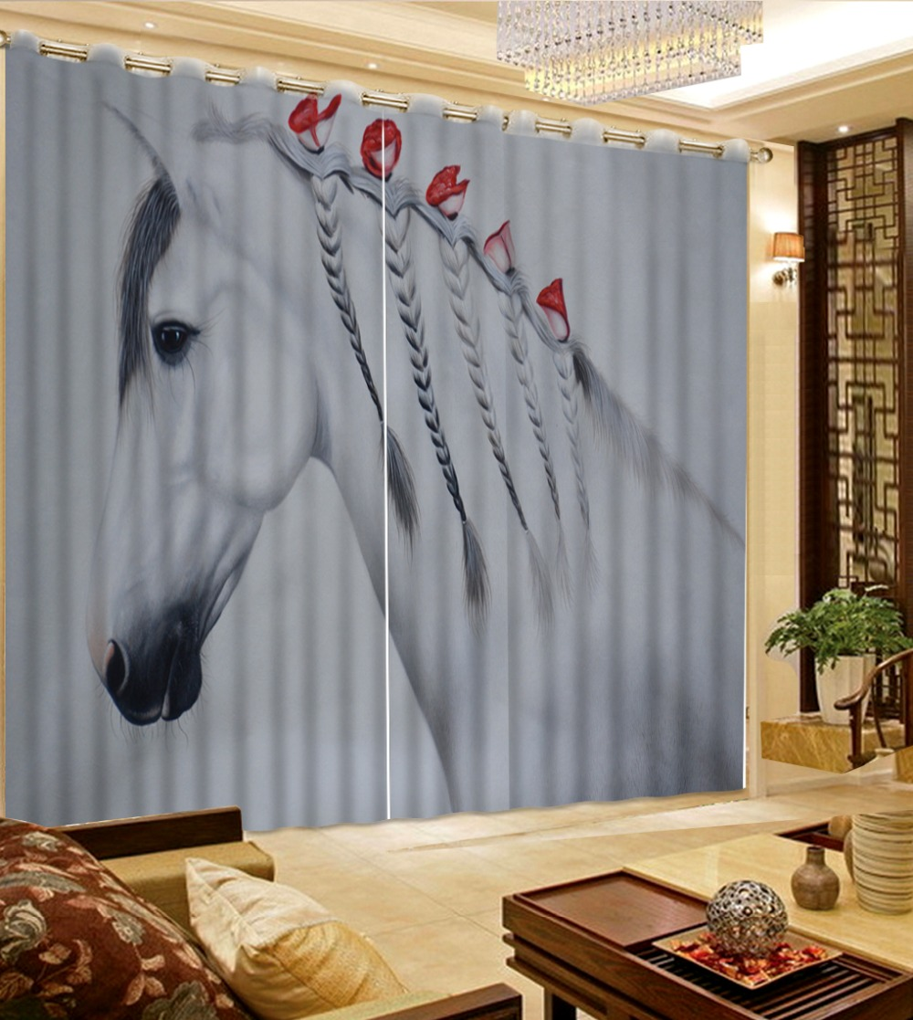 Abstrait représentant cheval fenêtre occultant luxe 3D rideaux ensemble pour lit salon bureau hôtel maison mur décoratif