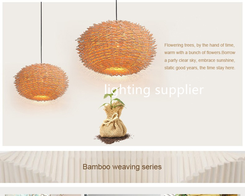 man made Lamp Creative Wood pendant Lights 220v E27 Nest ...