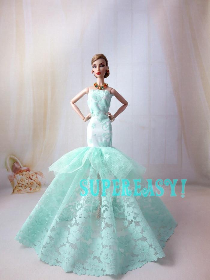 Buy aqua colour strapless fishtail dress for How to make a barbie wedding dress