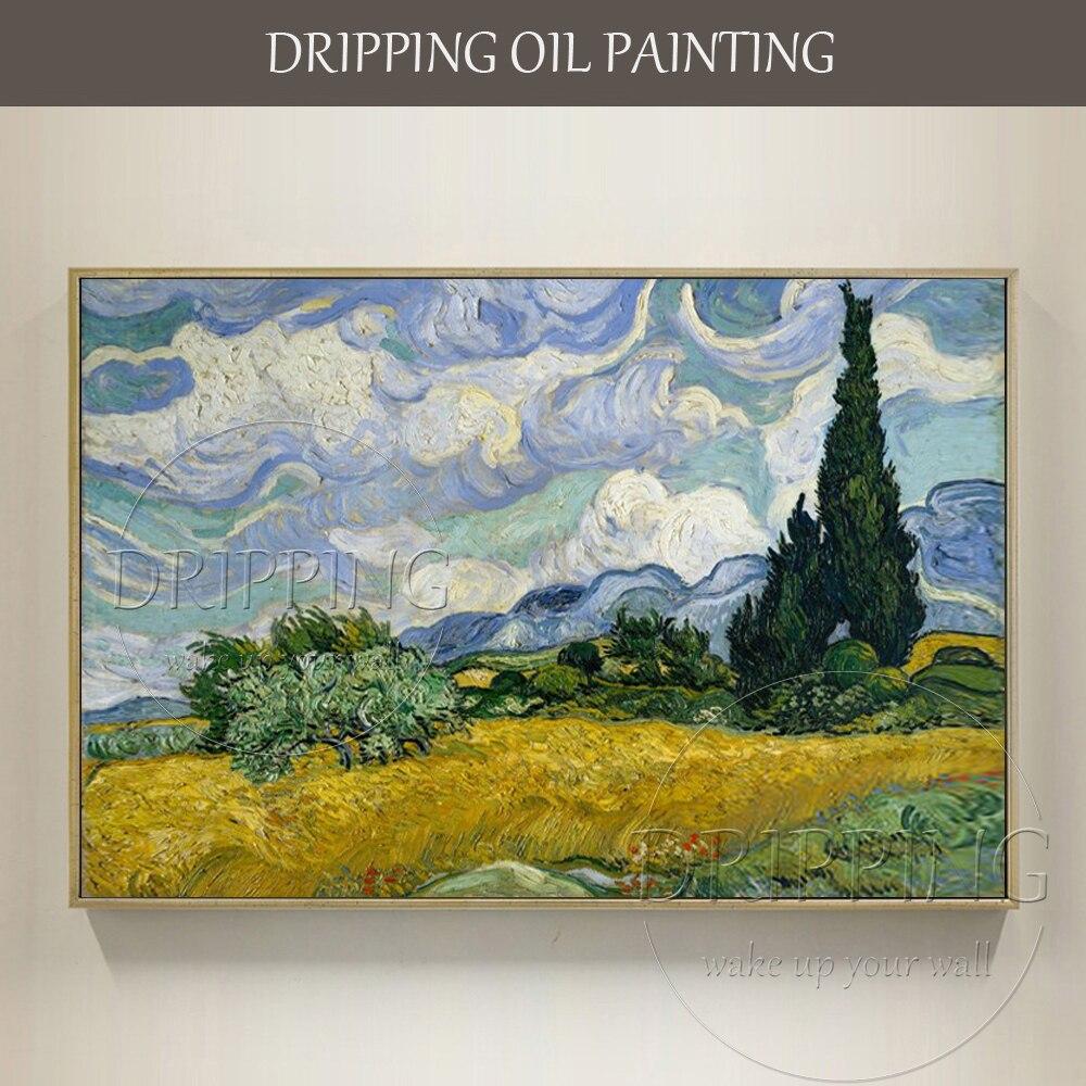 الانطباعي النفط اللوحة رسمت باليد المشهد حقل القمح مع السرو فان جوخ اللوحة حقل القمح مع السرو-في الرسم والخط من المنزل والحديقة على  مجموعة 1