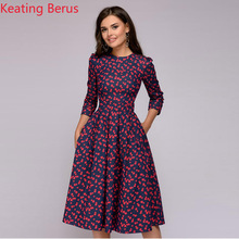 KeatingBerusWomens Elegant Dress Retro Small Floral Round Neck Temperament Womens Autumn and Winter Clothing0020