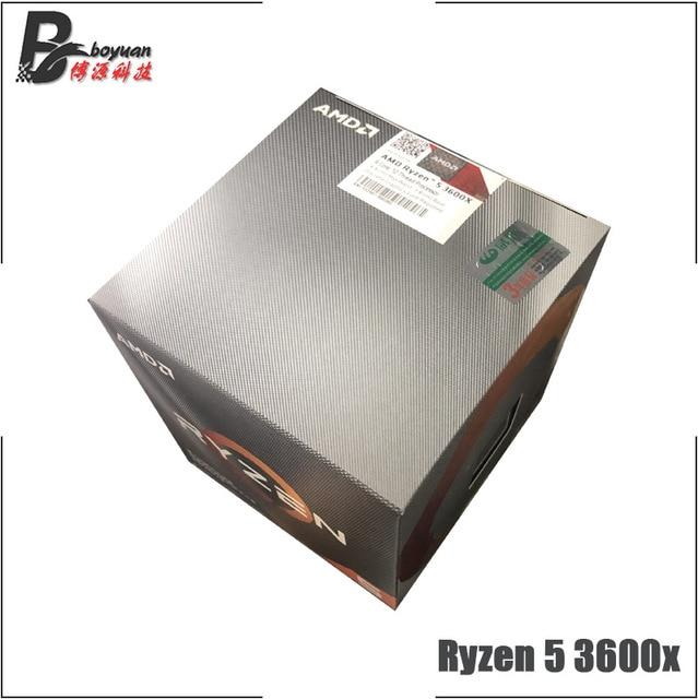 AMD Ryzen 5 3600X R5 3600X3.8 GHz שש ליבות עשר חוט מעבד מעבד 7NM 95 W l3 = 32 M 100 000000022 שקע AM4 חדש עם מאוורר