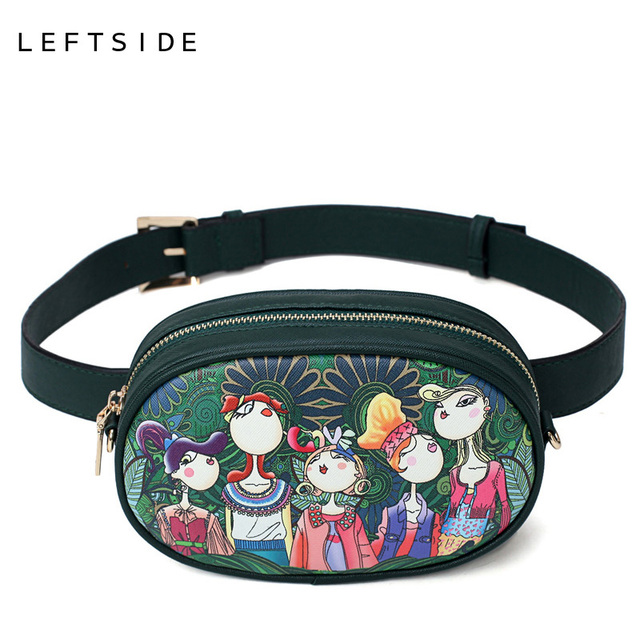 LEFTSIDE 2018 Новый Искусственная кожа женские зеленый мультфильм Поясные сумки Для женщин талии Фанни пакеты ремень сумки через плечо цепь грудь Сумки