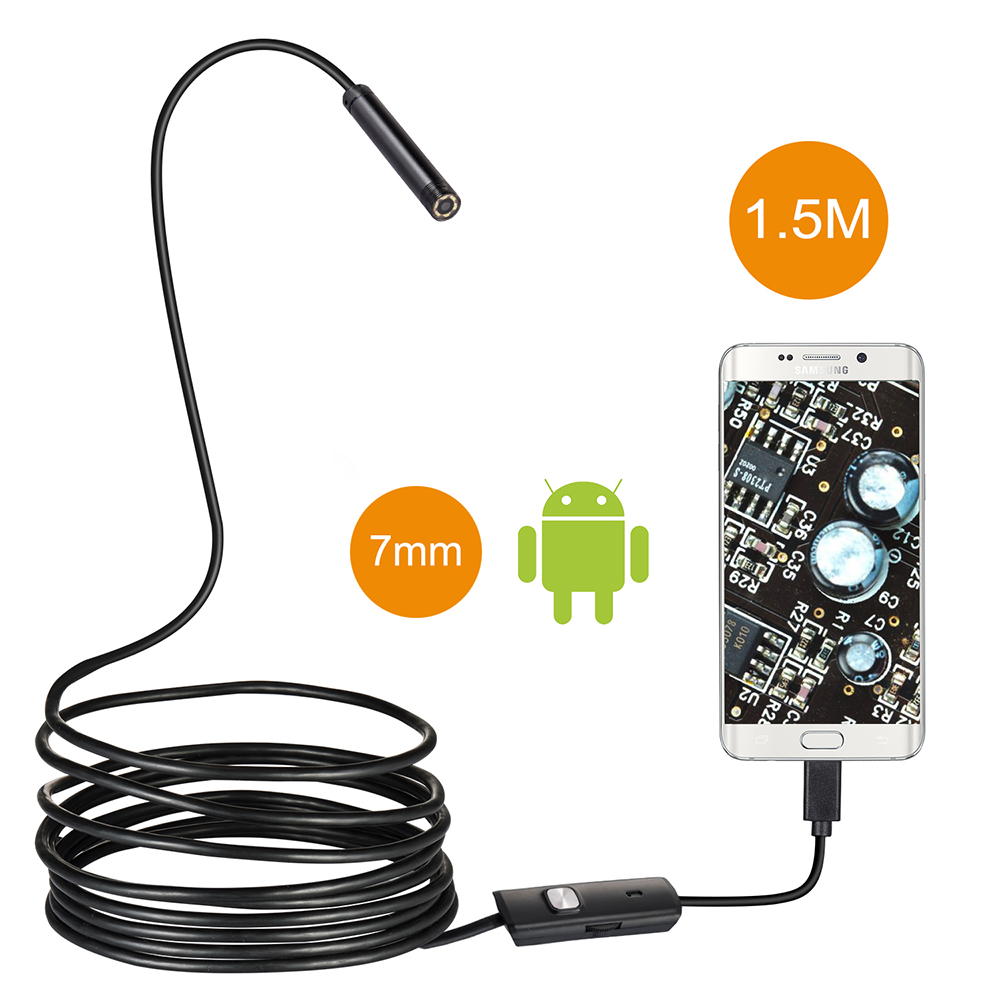 7mm Lens USB Endoscope 1.5M 6 LED IP67 Waterproof Camera Endoscope Mini Camera Mirror As Gift Android OTG Phone Endoscopio fb 7mm lens usb endoscope 6 led ip67 waterproof camera endoscope 1m mini camera mirror as gift android otg phone endoscopio