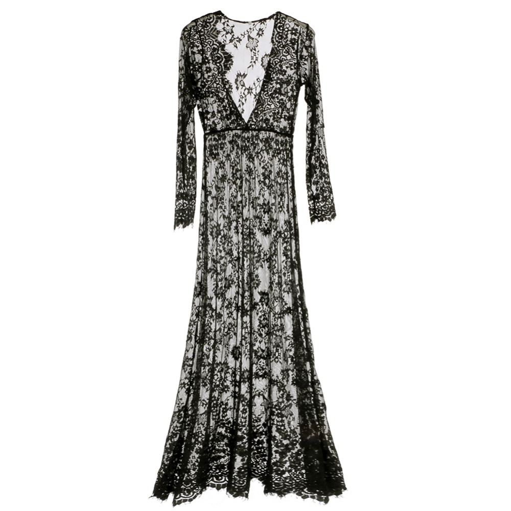 2018 Women Sexy Lace Embroidery Maxi Solid White Dress Long Sleeve Deep V Neck Vestidos Plus Size S-XL Summer European Style