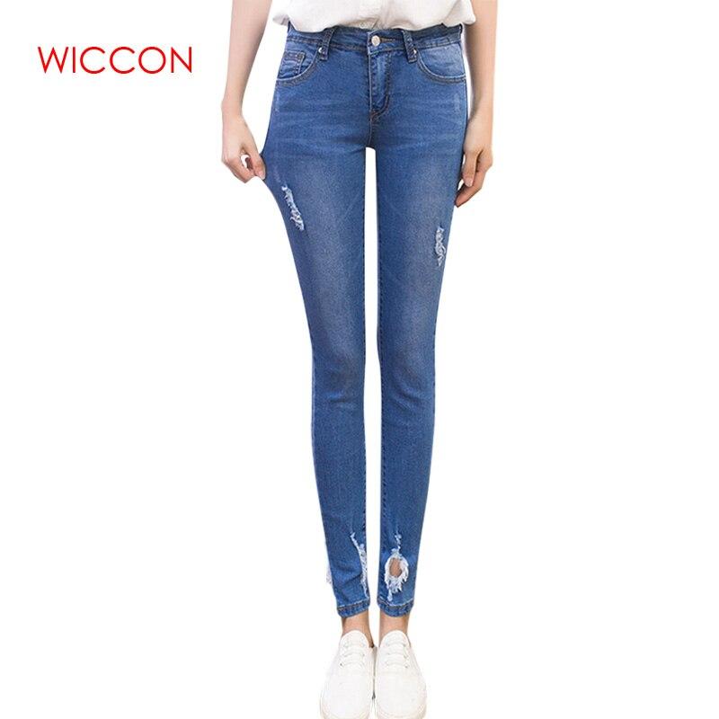 fac20e766ef Новый тонкий стрейч Высокая Талия обтягивающие джинсы женские нуля Вышивка  разрез Низ сбоку джинсовые узкие брюки