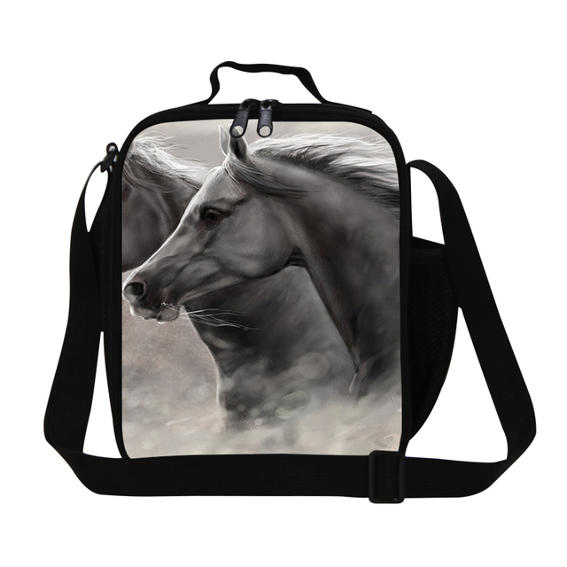 Dispalang Animals Lunch Bags For Girls and Boys Horses Lunch Box 3D Print Food Storage Men's Small Food Bag For Office Insulated