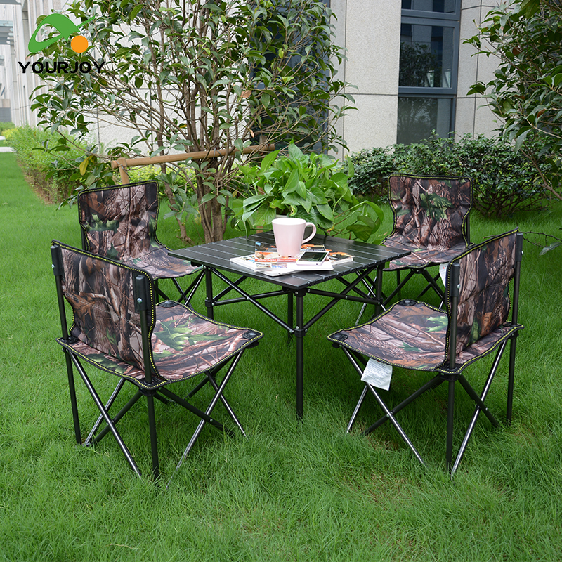 yourjoy ArmyGreen table and four folding chair Outdoor folding table Fishing leisure stool camping Combination packages