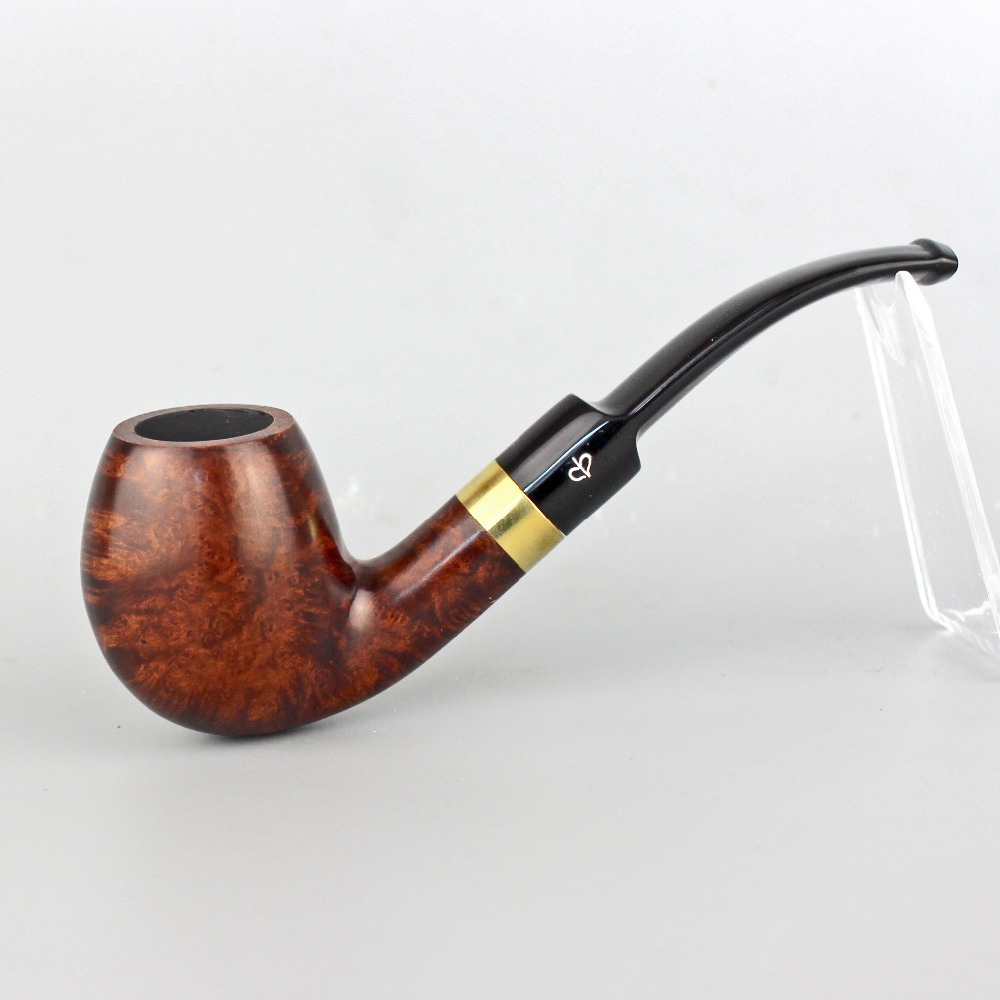 RU NewBee Briar Wood flared Handmade Bent Smoking pipe with gold ring Tobacco Pipe with 9mm
