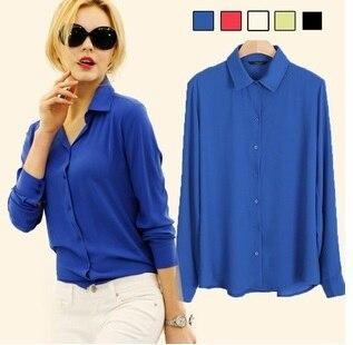 1803577b7b7567 High quality 1 piece/lot 100% polyester lady chiffon blouses fashion  girlish shirt white red black yellow blue wholesale