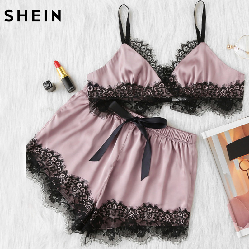 SHEIN Pink Womens Pajamas Set Color Block Scalloped Eyelash Lace Spaghetti Strap Crop Cami Top and Short Pajama Set