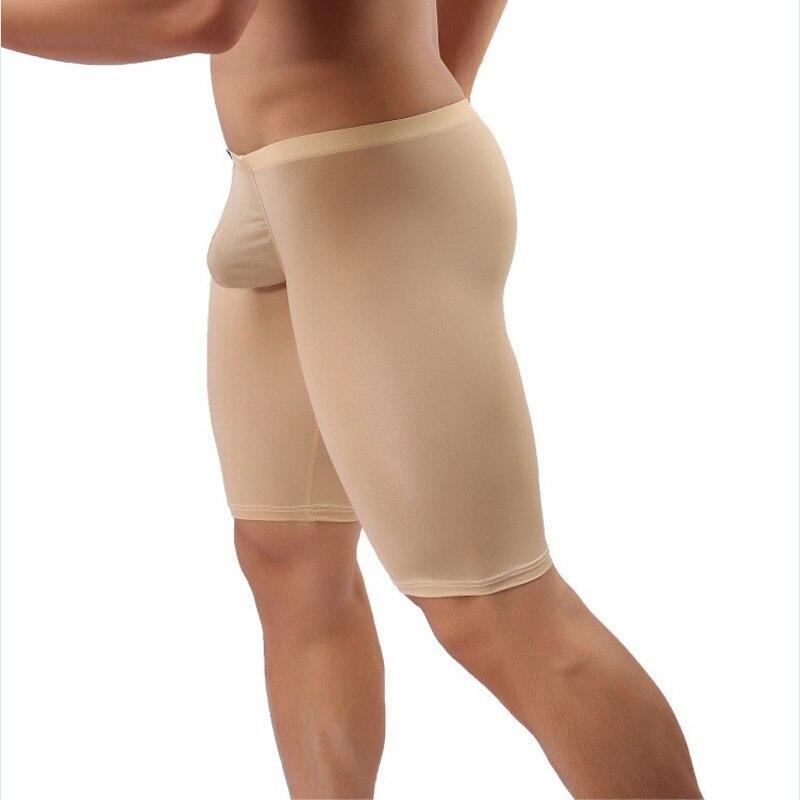 men boxer capris cool slim elegant comfortable long boxer men underwear transparent pouch male panties mens boxer shorts