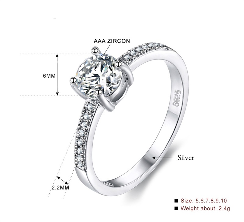 e4fc4cbedcb7a US $10.14 49% OFF|YHAMNI Luxury 1 Ct 6mm CZ Zircon Ring 925 Sterling Silver  Engagement Wedding Ring Fashion Jewelry For Women Gift YRA086-in Wedding ...