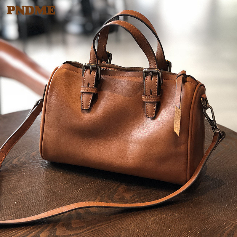 PNDME vintage fashion simple soft genuine leather ladies handbag designer handmade cowhide womens shoulder crossbody bags