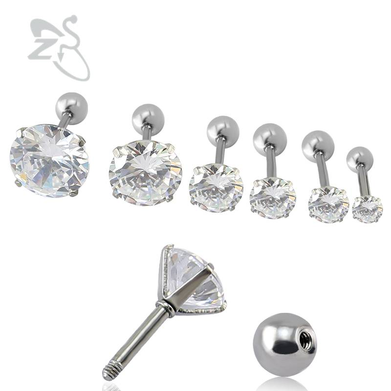 Cz Zircon Putaran Tragus Ear Stud Earrings Wanita Bedah Steel Earring Cubic Zirconia Ear Studs Earring Perhiasan pendient