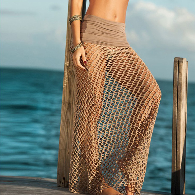 New 2015 Bohemian Fishnet Beach Skirt Womens Crochet Maxi Skirts