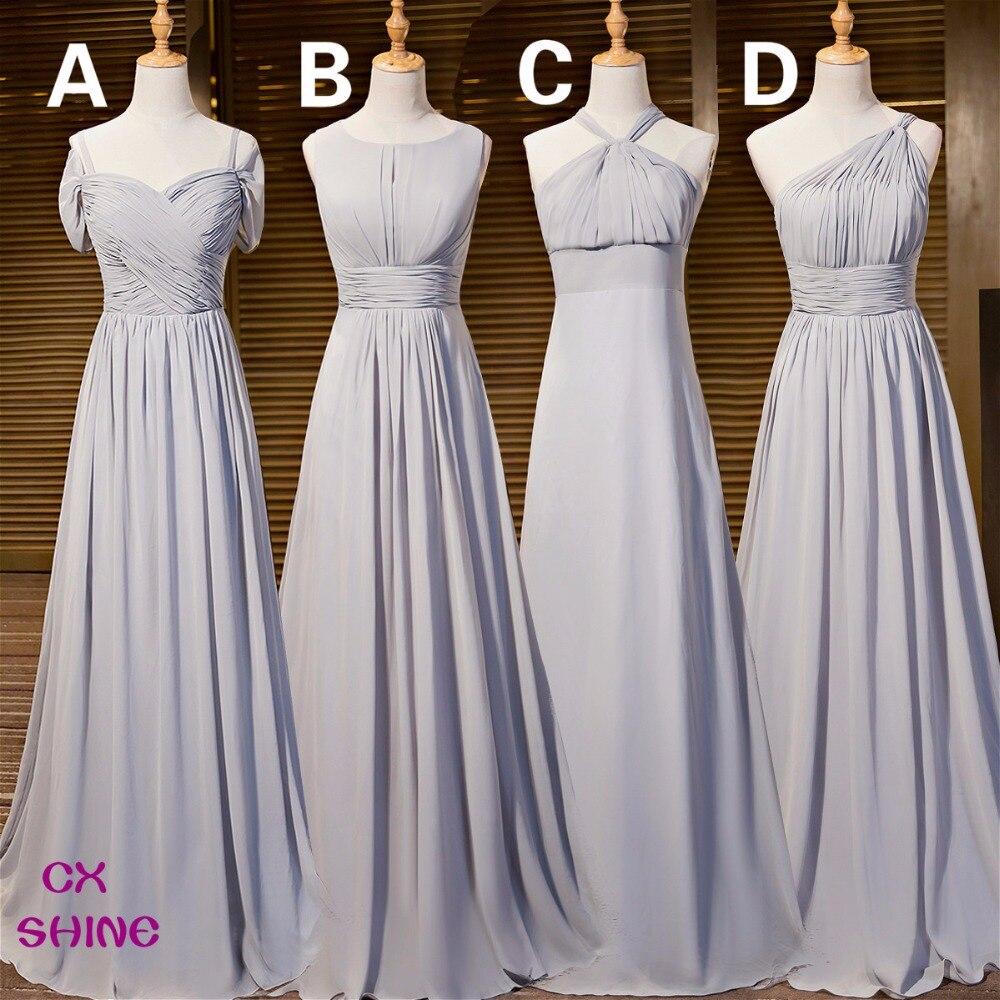 Online get cheap prom style bridesmaid dresses aliexpress cx shine new custom color chiffon 4 style gray long bridesmaid dresses cheap wedding prom dress ombrellifo Images