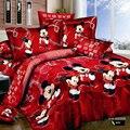 Красный постельные принадлежности устанавливает королева Король Двойной размер микки одеяло обложка + лист + наволочки 4 шт. минни постельное белье набор