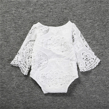 Newborn Baby Clothes Summer New Baby Girls White Lace Bodysuits Cotton Batwing Sleeve Baby Bodysuit Ruffles Girl Clothing(China)