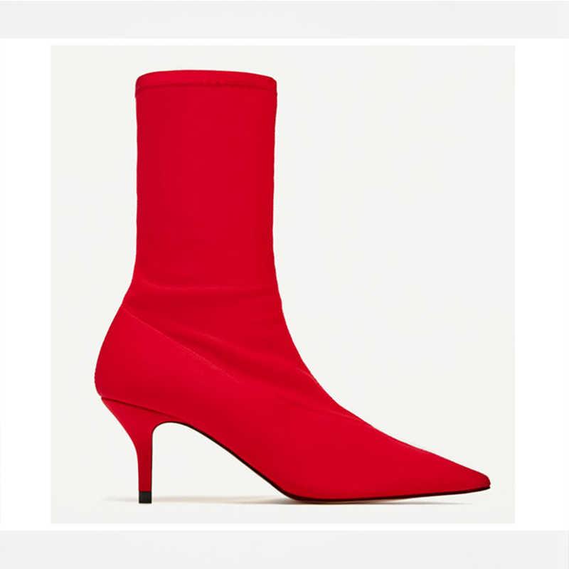 2018 Mùa Thu Phụ Nữ Khởi Động chiếc Vớ Căng Vải Trượt Trên 6.5 CM Cao Gót Nhọn Toe Mắt Cá Chân Khởi Động Phụ Nữ Bơm Stiletto phụ nữ Giày