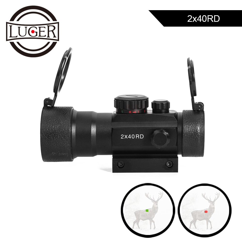 LUGER Red Dot Sight Scope 2X40 Tactical Mid Dot Illumination Adjust Reflex Red Dot Hunting Scope Airsoft Rifle Optic Sight