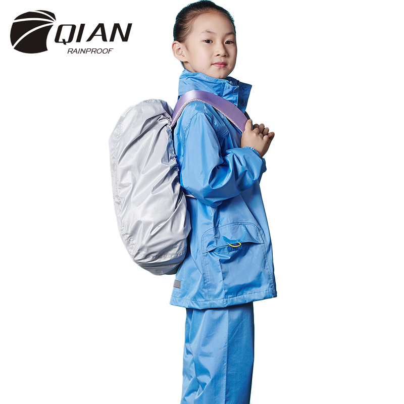 QIAN RAINPROOF Impermeable Children Raincoat School Waterproof Kids Rain Coat Boys/Girls Rain Gear Poncho Rain Pants Rain Jacket