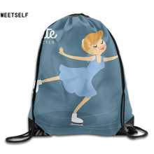 MEETSELF 3D Print Skating Shoulders Bag Women Fabric Backpack Girls Beam Port Drawstring Travel Shoes Dust Storage Bags