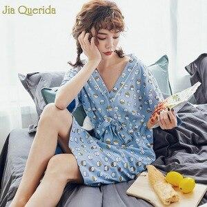 Image 5 - Нижнее белье, одежда для сна, Женская хлопковая ночная рубашка небесно голубого цвета с принтом милого котенка, с бантом на поясе, в японском стиле, кавайная одежда для сна для студентов