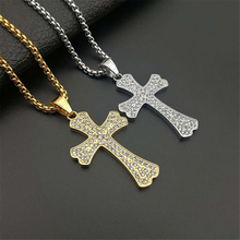 Men Women Iced Out Cross Pendant Gold Silver Stainless Steel Rhinestons Cross Pendants Necklace Chain Fashion Hip Hop Jewelry xukim jewelry silver gold color cubic zirconia iced out paw dog cat claw pendant necklace hip hop jewelry