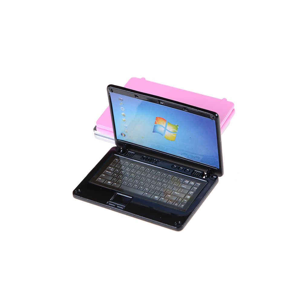 1PCS Cute Simulation Mini Laptop Computer DIY 1:12 Dollhouse Miniature Alloy Fashion Crafts Dollhouse Decoration Diy Accessories