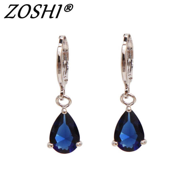 2017 New Summer Style Royal Blue Austria Crystal Silver Clip Dangle Earrings For Woman Charm aretes Pierced on ear jewelry