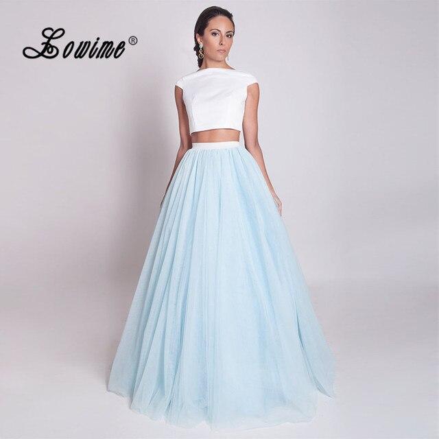 Vestido azul claro largo
