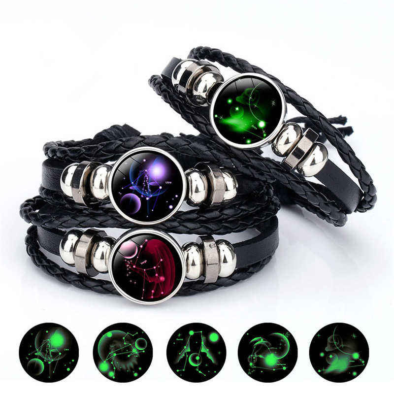 Fashion Luminous 12 Constellations Leather Bracelet Zodiac Sign with Beads Bangle Bracelets For Men Glow in the Darkness Jewelry