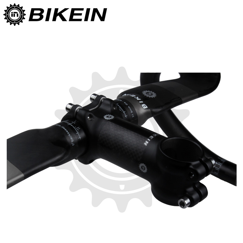BIKEIN-aérodynamique vélo de route guidon + tige noir mat ultra-léger carbone vélo de route pièces de vélo plié Bar 355g - 3