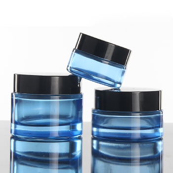 30g 1OZ Glass green and blue Facial cream jar, 30ml Travel Eyeshadow Face Cream Lotion Cosmetic Container