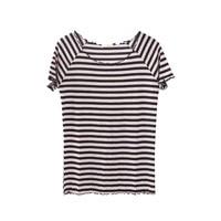 Hot Sale Summer Women Striped T shirt Hot Clothing Top T-shirt Sexy Girls Purfle Neck Tees Top