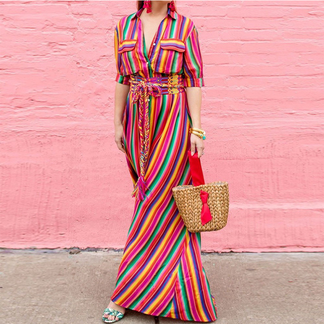a03b7a630e0 Dresses Rainbow Striped Maxi Long Dress Summer Beach 2018 Women Plus Size  Xxl 3xl Buttons Front Shirt Bohemian Boho Summer Dress