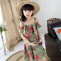 Adolescente grande vestido de la muchacha vestidos de verde nueva moda de verano vestido floral casual lindo dulce muchacha encantadora bonita vestido para adolescentes