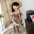 Teen big girl dress dresses green new summer fashion floral casual dress cute sweet pretty lovely girl dress for teenage